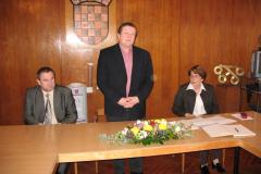 Slijeva na desno; pročelnik Odsjeka za informacijske znanosti prof. dr. sc. Vladimir Mateljan, dekan prof. dr. sc. Damir Boras i prof. dr. sc. Aleksandra Horvat